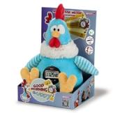 Nici 38469 - Hahn Good Morning Buddy Schlenker mit Weckerfunktion in Geschenkverpackung, 35 cm, blau -