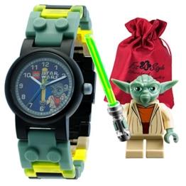LEGO Kinderuhr Star Wars Yoda Kinder-Armbanduhr schwarz grün mit Transportsäckchen Kunststoffband Quarzuhr ULE8020295 -