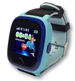 """VIDIMENSIO® GPS-Telefon Uhr """"Kleiner Delfin - blau (Wifi) - Armband: schwarz-blau"""" (wasserdicht), inkl. Vodafone Callya SIM-Karte - für Kinder / Schutz für Ihr Kind / SOS Notruf + Telefonfunktion / Live GPS Ortung der Uhr / Wasserdicht IP66 / Tracker Uhr / GPS Uhr / GPS + WIFI + LBS Positionierung / funktioniert im ganzen Europa und weltweit, inkl. deutsche Bedienungsanleitung, deutsche Tracking App am Handy, deutscher Support / voll kompatibel mit allen iPhone / Android Smartphones - 1"""