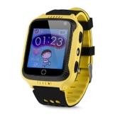 JBC GPS-Telefon Uhr OHNE Abhörfunktion, für Kinder, SOS Notruf+Telefonfunktion, Live GPS+LBS Positionierung, funktioniert weltweit, Anleitung + App + Support auf deutsch (Gelb) - 1