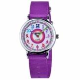 Zeiger Kinderuhr Mädchen Jungen Armbanduhr Nylon Quarz Analog Einfach-Lesen Lernuhr Lila Mädchenuhr Jungen Geschenk Uhr (Lila) - 1